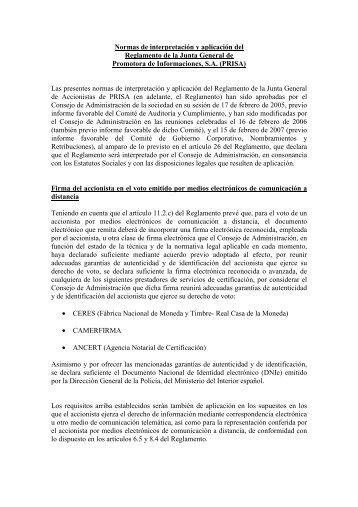 Normas de interpretación y aplicación del Reglamento de la ... - Prisa
