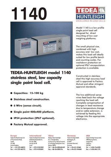 TEDEA-HUNTLEIGH model 1140 stainless steel, low capacity single ...
