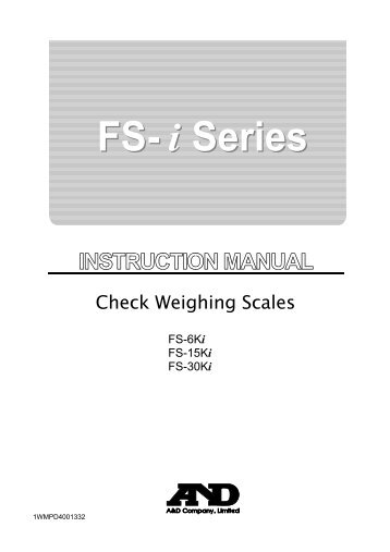 FS-i Manual (PDF 699KB) - A&D Company Ltd