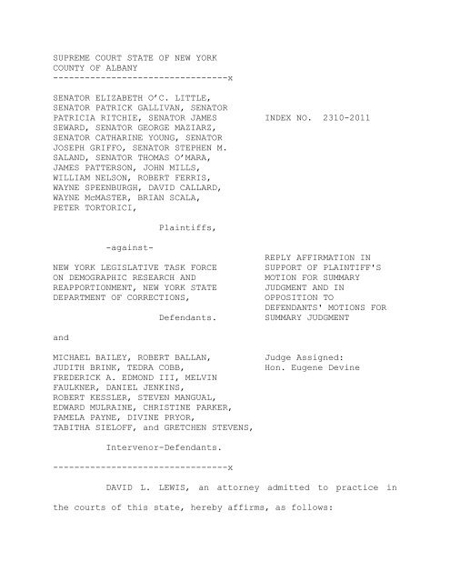 Reply Affirmation in Support of Plaintiff's Motion for