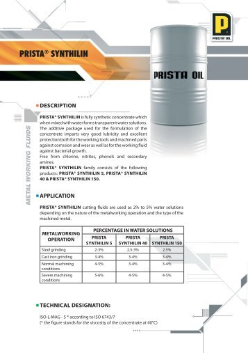 Technical information about the product