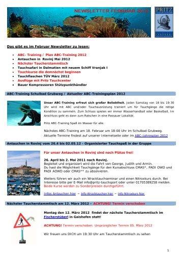 Das gibt es im Februar Newsletter zu lesen: Infos ... - Pritz Tauchsport