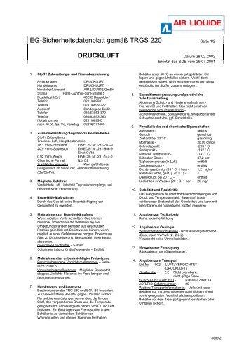 Sicherheitsdatenblatt Druckluft - Pritz Tauchsport