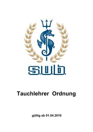 S.U.B. Ausbildungsordnung Tauchlehrer - Pritz Tauchsport