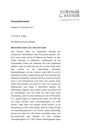 Die Marktmeinung aus Stuttgart - Ellwanger & Geiger