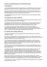 Allgemeine Geschäftsbedingungen für den Hotelaufnahmevertrag I ...