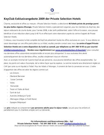 KeyClub Exklusivangebote 2009 der Private Selection Hotels