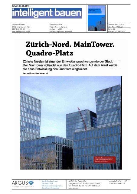 Zürich Nord. Main Tower. Quadro Platz. - Privera