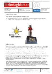 InoTex Bern AG gewinnt den Berner Sozialstern 2012 - Privera