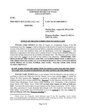 """liquidating trust On august 31, 2017, the trustee for the dbsi liquidating trust and the dbsi real estate liquidating trust (the """"liquidating trusts"""") filed final reports for the."""