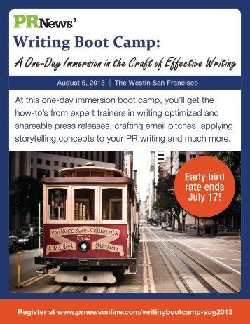 Writing Boot Camp | Agenda - PR News