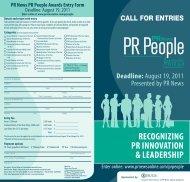 RECogNiziNg PR iNNovAtioN & LEADERshiP - PR News