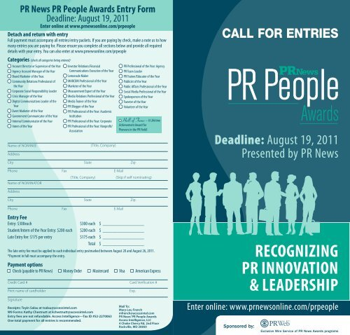 RECogNiziNg PR iNNovAtioN & LEADERshiP - PR News