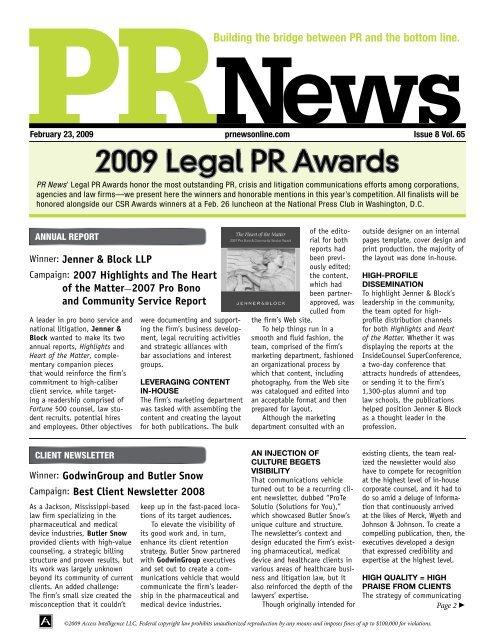 2009 Legal PR Awards - PR News