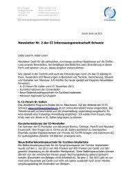 Newsletter Nr. 2 der CI Interessengemeinschaft Schweiz
