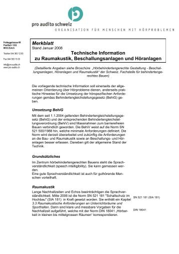 Merkblatt Technische Information zu Raumakustik ...