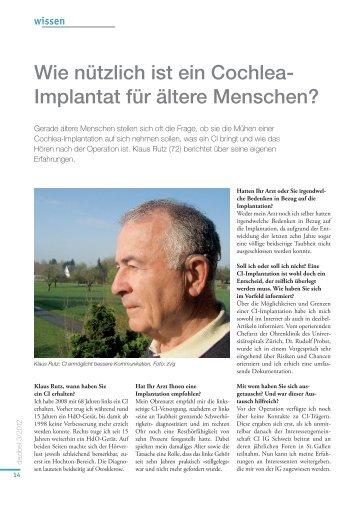Wie nützlich ist ein Cochlea- Implantat für ältere Menschen?