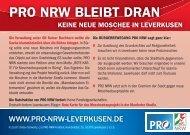 PRO NRW BLEIBT DRAN – Keine neue Moschee in Leverkusen