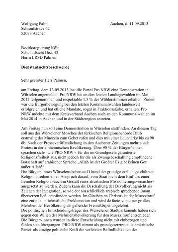 und stellvertretende Parteivorsitzende, Wolfgang Palm ... - Pro NRW