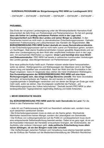 KURZWAHLPROGRAMM der Bürgerbewegung PRO NRW zur ...