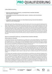 Cultural Mainstreaming - Pro Qualifizierung