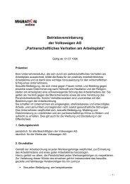 Vereinbarung Volkswagen AG - Migration-online