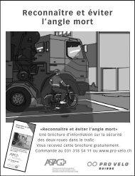 Reconnaître et éviter l'angle mort - Pro Velo Schweiz