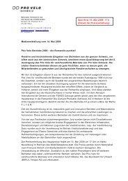 Medienmitteilung vom 14. Mai 2009 Prix Velo ... - Pro Velo Schweiz