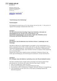 Positionspapier von Pro Velo Schweiz zur Helmtragepflicht
