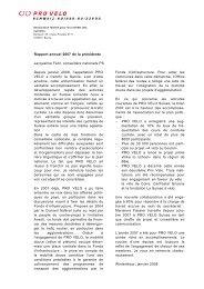 Rapport annuel 2007 de la présidente ... - Pro Velo Schweiz