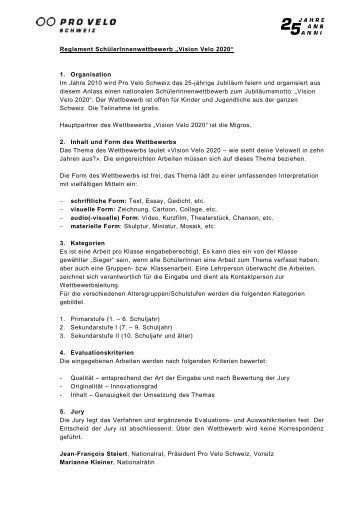 Wettbewerbsreglement mit Anmeldeformular - Pro Velo Schweiz