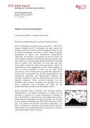 Rapport annuel 2010 - Pro Velo Schweiz