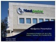 Medgenics One2One Investor Presentation - Proactive Investors