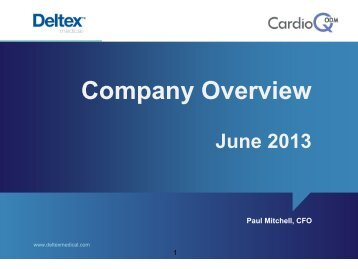Deltex Medical One2One Forum Presentation 26th June 2013