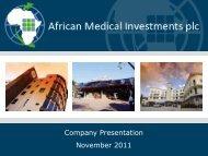 African Medical Investments Investor Presentation - Proactive Investors