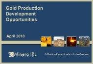 Gold Production Development Opportunities - Proactive Investors