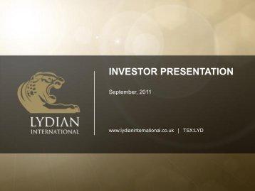 Lydian International Presentation - 15th September 2011 - Proactive ...