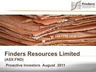 Finders Resources One2One Investor Presentation