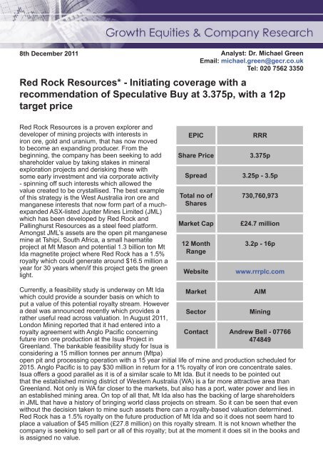 Growth Equities & Company Research - 8th December 2012