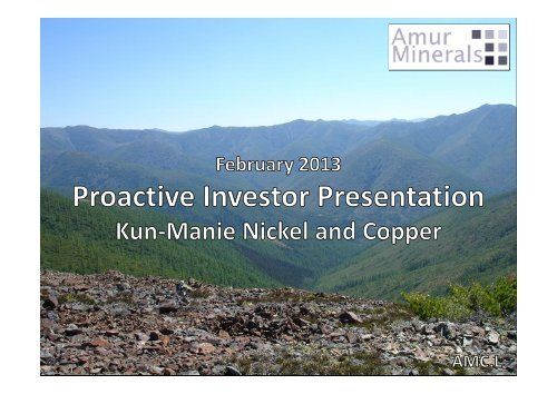 One2One – Amur Minerals Investor Presentation - Proactive Investors