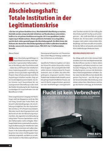 Totale Institution in der Legitimationskrise - Pro Asyl