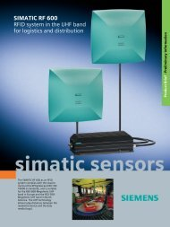 SIMATIC RF 600 RFID system in the UHF band for logistics and ...