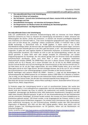 Newsletter ITALIEN zusammengestellt von judith gleitze ... - Pro Asyl