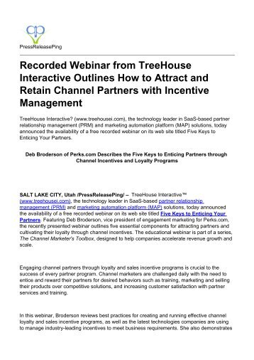 Recorded Webinar from TreeHouse Interactive Outlines How to Attract and Retain Channel Partners with Incentive Management