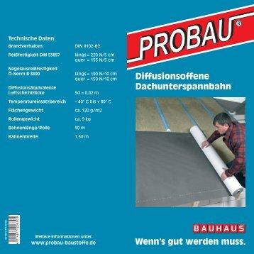 Diffusionsoffene Dachunterspannbahn - Probau Baustoffe