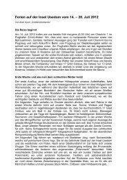Ferien auf der Insel Usedom vom 14. – 28. Juli 2012 - Procap