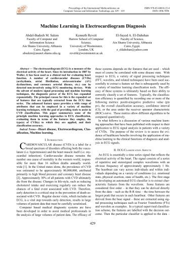 Machine Learning in Electrocardiogram Diagnosis - Proceedings of ...