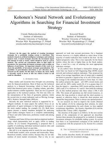 Kohonen's Neural Network and Evolutionary Algorithms in ...