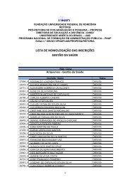 Inscrições Homologadas - Gestão de Saúde