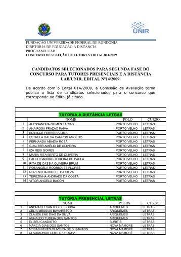 CANDIDATOS SELECIONADOS 2 fase - Unir